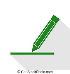 Pencil sign illustration. Green icon with flat style shadow path.