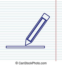 Pencil sign illustration. Vector. Navy line icon on notebook paper as background with red line for field.