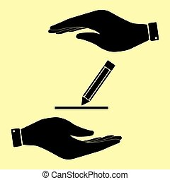 Save or protect symbol by hands. - Pencil sign. Save or...