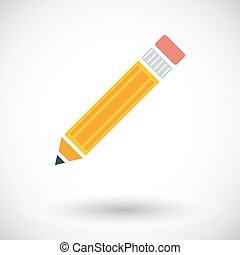 Pencil. Single flat icon on white background. Vector...