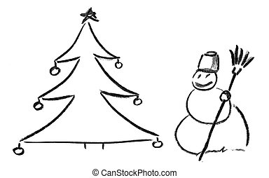 Pencil sketch of Christmas tree and snowman
