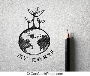 pencil sketch of earth concept