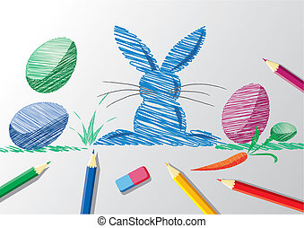 Pencil sketch of easter bunny and eggs