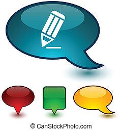 Pencil speech comic icons.