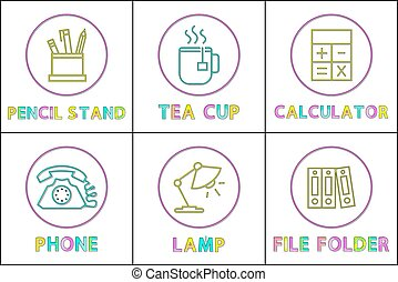 Pencil Stand and Tea Cup Set Vector Illustration