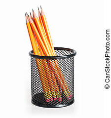pencil stand - lead pencils in metal mesh cup on a white...