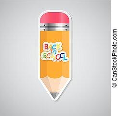 Pencil Sticker Label Vector Illustration