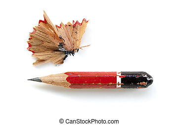 Pencil Stub and Shavings Isolated - Pencil stub and...