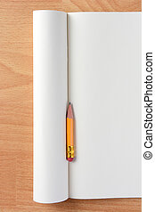 Pencil Stub on Blank Notebook