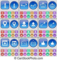 Pencil, Swing, Basket, Checkpoint, Avatar, Key, Window, 31 Day, Like. A large set of multi-colored buttons. Vector