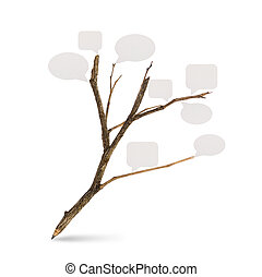 Pencil tree shaped on white background with Paper Speech Bubble