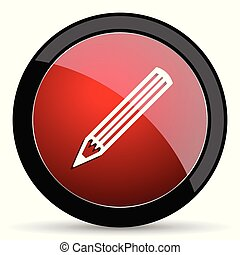 Pencil vector icon. Modern design red and black glossy web and mobile applications button in eps 10