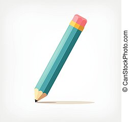 pencil., vektor, byt, ilustrace