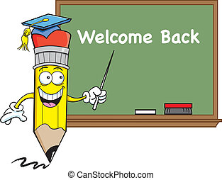 Pencil with a blackboard - Cartoon illustration of a pencil ...
