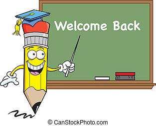 Pencil with a blackboard - Cartoon illustration of a pencil ...