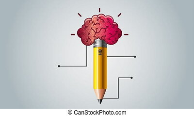 pencil with brain and statistics infographic animation -...