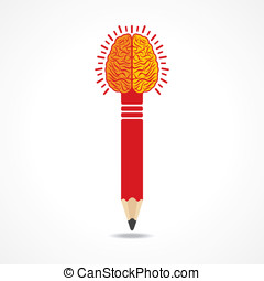 Pencil with brain