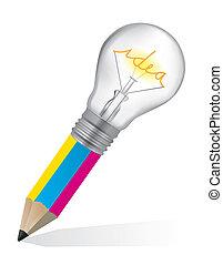 Pencil with Bulb for creative ideas - Pencil with light bulb...