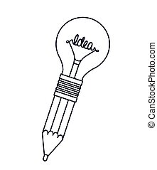 pencil with bulb isolated icon design