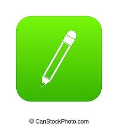 Pencil with eraser icon digital green