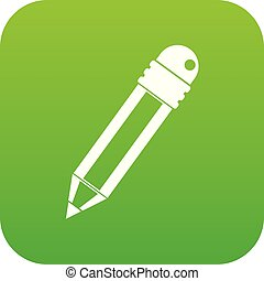 Pencil with eraser icon digital green