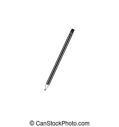 Pencil with eraser icon isolated. Education sign. Drawing and educational tools. School office symbol. Flat design. Vector Illustration