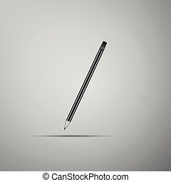 Pencil with eraser icon isolated on grey background. Education sign. Drawing and educational tools. School office symbol. Flat design. Vector Illustration
