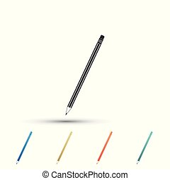 Pencil with eraser icon isolated on white background. Education sign. Drawing and educational tools. School office symbol. Set elements in colored icons. Flat design. Vector Illustration