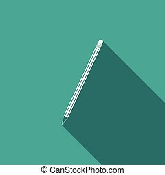 Pencil with eraser icon isolated with long shadow. Education sign. Drawing and educational tools. School office symbol. Flat design. Vector Illustration