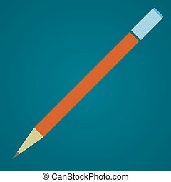 Pencil with eraser. Schools supplies from student's backpack. Vector flat illustration.