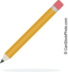 Pencil with eraser vector flat isolated