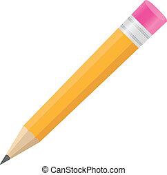 Vector pencil with eraser on white background