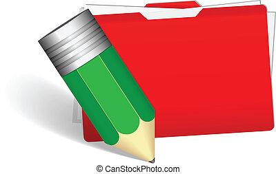 pencil with file folder