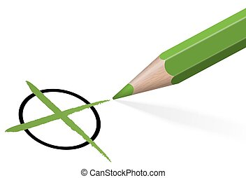 pencil with green cross