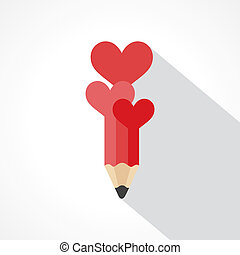 pencil with hearts