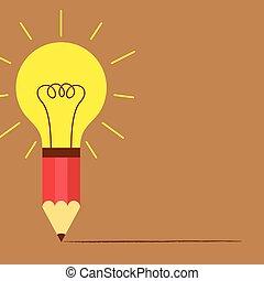 Pencil with light bulb idea