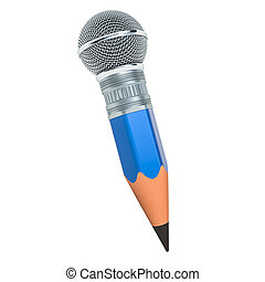 Pencil with microphone, music blog concept. 3D rendering
