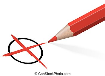 pencil with red cross