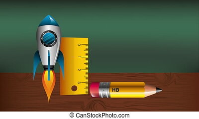 pencil with rocket and rule infographic animation ,hd video...
