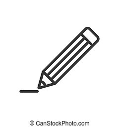 Pencil with rubber eraser icon in flat style. Highlighter vector illustration on white isolated background. Pencil business concept.