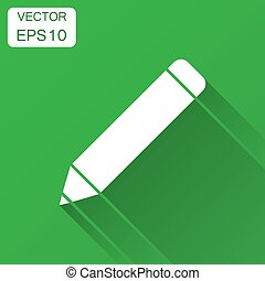 Pencil with rubber eraser icon in flat style. Highlighter vector illustration with long shadow. Pencil business concept.