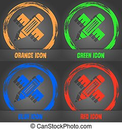 Pencil with ruler icon. Fashionable modern style. In the orange, green, blue, red design. Vector