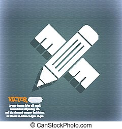 Pencil with ruler icon. On the blue-green abstract background with shadow and space for your text. Vector