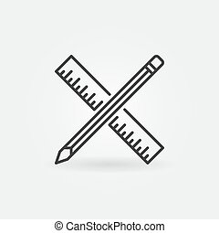 Pencil with ruler vector icon in thin line style
