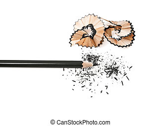 Pencil with sharpening shavings isolated on a white background