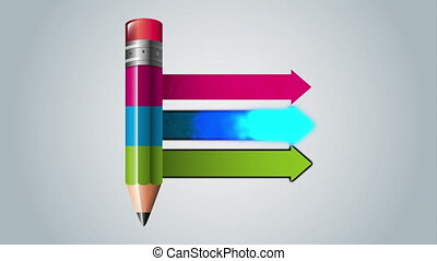 pencil with statistics infographic animation - pencil with...