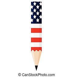 Pencil with the flag of United States