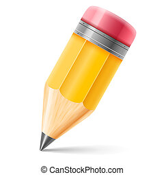 Pencil - Wooden sharpened pencil isolated on white...