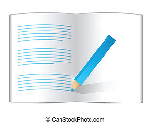 pencil writing on a book. illustration design over white