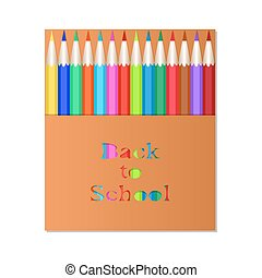 pencil3Box of colored pencils. The carved inscription Back to School. Packaging design pencils